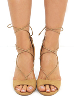 West Coast Wardrobe Embark Lace Up Heel in Natural
