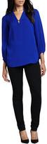 Tanyana Long-Sleeve Silk Blouse, Blue