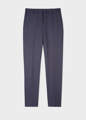 Paul Smith Women's Classic-Fit Navy Flecked Wool-Blend Trousers