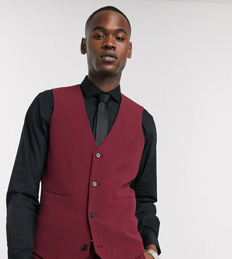 ASOS DESIGN Tall super skinny suit waistcoat in burgundy