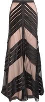 Temperley London Lilith Pleated Tulle-Paneled Satin Maxi Skirt