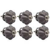 Nicola Spring Ceramic Cupboard Drawer Knobs - Solid Vintage Design - Grey - Pack of 6