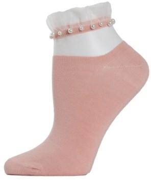 Me Moi Sheer Ruffle Cuff Imitation Pearl Women's Anklet Socks