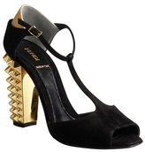 Fendi black suede studded heel t-strap peep toe sandals