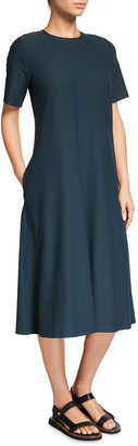 Eileen Fisher Petite Crewneck Washable Stretch Crepe Midi Dress