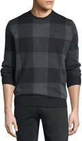 Neiman Marcus Check-Print Crewneck Sweater, Shadow