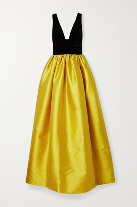 Costarellos Lissa Velvet And Taffeta Gown - Gold