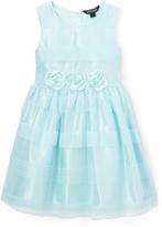 Nannette Blue Floral-Accent Tie-Waist Dress - Girls
