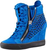 Giuseppe Zanotti Crystal-Studded Suede Wedge Sneaker, Blue
