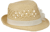 John Lewis Children's Straw Trilby Hat with Corsage, Natural
