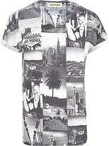 River Island MensBlack and white printed t-shirt