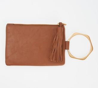 THACKER Leather Clutch with Hexagon Handle - Nolita