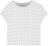 Current/Elliott The Rolled plaid linen and cotton-blend top