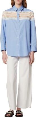 Sandro Chira Lace Trim Striped Tunic Shirt