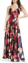 Sequin Hearts Floral Print Satin Gown