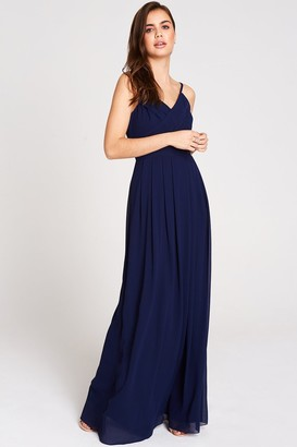 Girls On Film Outlet Endlessly Navy Chiffon Maxi Dress