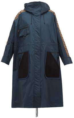 Fendi Logo-jacquard Stripe Technical Raincoat - Womens - Navy