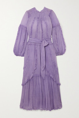 Ulla Johnson Sabina Ruffled Crinkled Silk-georgette Maxi Dress - Lilac