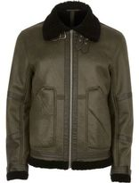 River Island MensGreen cracked fleece lined aviator jacket