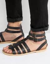 Frank Wright Gladiator Sandals in Black Leather