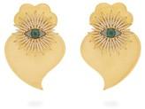 Begum Khan - Evil Eye Cuore Sacro 24kt Gold-plated Earrings - Womens - Green Gold