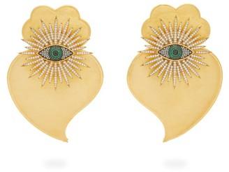 BEGÜM KHAN Evil Eye Cuore Sacro 24kt Gold-plated Earrings - Green Gold