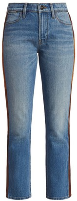 Frame Le High Straight-Leg Paneled Leather Tuxedo Stripe Jeans