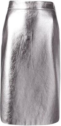 Prada Metallic Straight Midi-Skirt