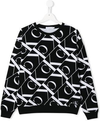 Calvin Klein Kids TEEN all over logo print sweatshirt