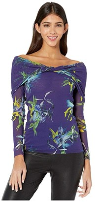 Fuzzi Long Sleeve Off Shoulder Uccello Del Paradiso Print Top (Blueberry) Women's Clothing