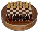 Wood Chess Set Board with Storage Drawers, 'Circle'