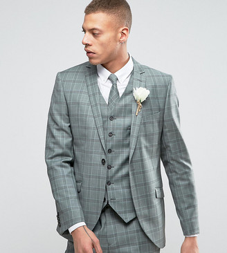 Heart N Dagger Slim Suit Jacket In Summer Wedding Check-Green