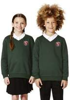 F&F School Unisex Embroidered Cotton Blend School V-Neck Sweatshirt with As New Technology