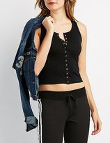 Charlotte Russe Ribbed Snap-Front Tank Top
