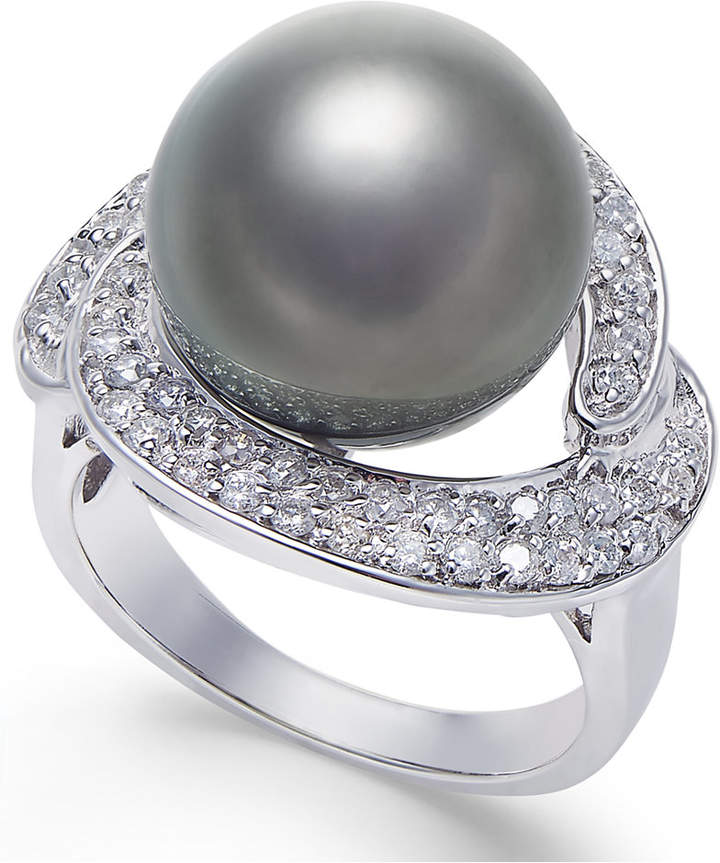 Macy's Cultured Black Tahitian Pearl (13mm) and diamond (5/8 ct. t.w.) Ring in 14k White Gold