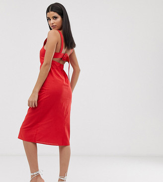 Asos Tall DESIGN Tall buckle back midi sundress-Red