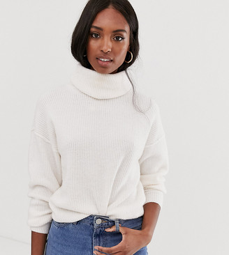 Asos Tall DESIGN Tall fluffy jumper with cowl neck in recycled blend-Cream