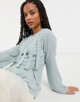 ELVI panel detail blouse in gray