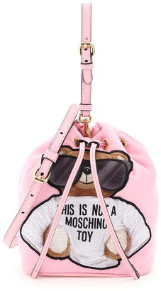 Moschino TEDDY BEAR MINI BUCKET BAG OS Pink, Black Faux leather