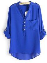 FTSUCQ Womens Chiffon V Neck Loose Shirt Blouse Top, L