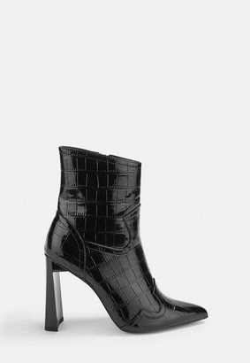 Missguided Shiny Mock Croc Western Heeled Boots