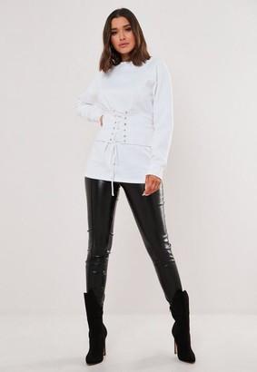 Missguided White Corset Detail Sweatshirt
