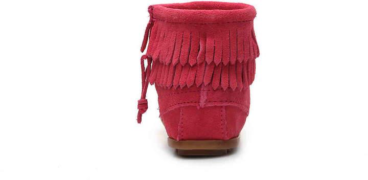 Minnetonka Girls Double Fringe Toddler & Youth Boot -Pink