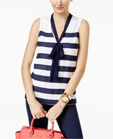 MICHAEL Michael Kors Striped Tie-Neck Top