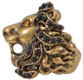 Gucci Lion Head Ring With Crystals