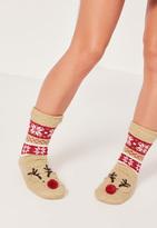 Missguided Reindeer Slipper Socks Brown