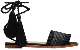 RED Valentino Ankle-Wrap Fringed Sandals