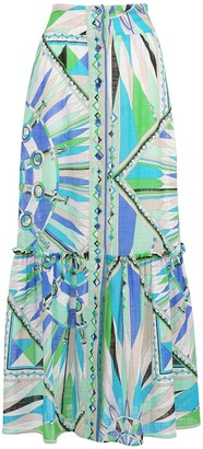 Emilio Pucci High Waist Printed Cotton Long Skirt