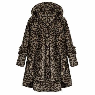 FIDOZ Women's Long Sleeve Warm Teddy Fleece Fluffy Coat Jacket Outwear for Autumn Winter Womens Oversized Buttons Solid Color/Leopard Print Sweatshirt Jumper Cardigans Pullover Hooded Hoody Hoodies