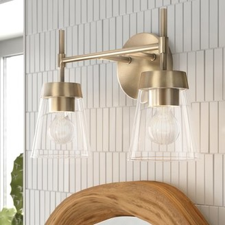 Russell 2-Light Dimmable Vanity Light Foundstone Finish: Antique brass
